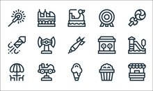 Amusement Park Line Icons. Lin...