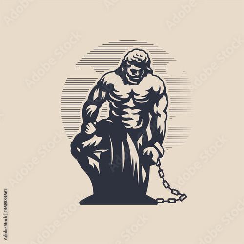 God Prometheus. The man is on one knee. Tapéta, Fotótapéta