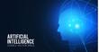 Artificial Intelligence. Big data web banner design. Alien mind. Futurisric technology scifi background.