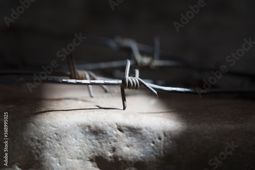 Fotografía An ancient barbed wire as a symbol of imprisonment, imprisonment and repression