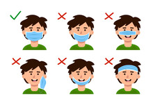 Explanation Of How To Wear A Medical Mask Correctly And Wrong. Instructions That Show A Child.