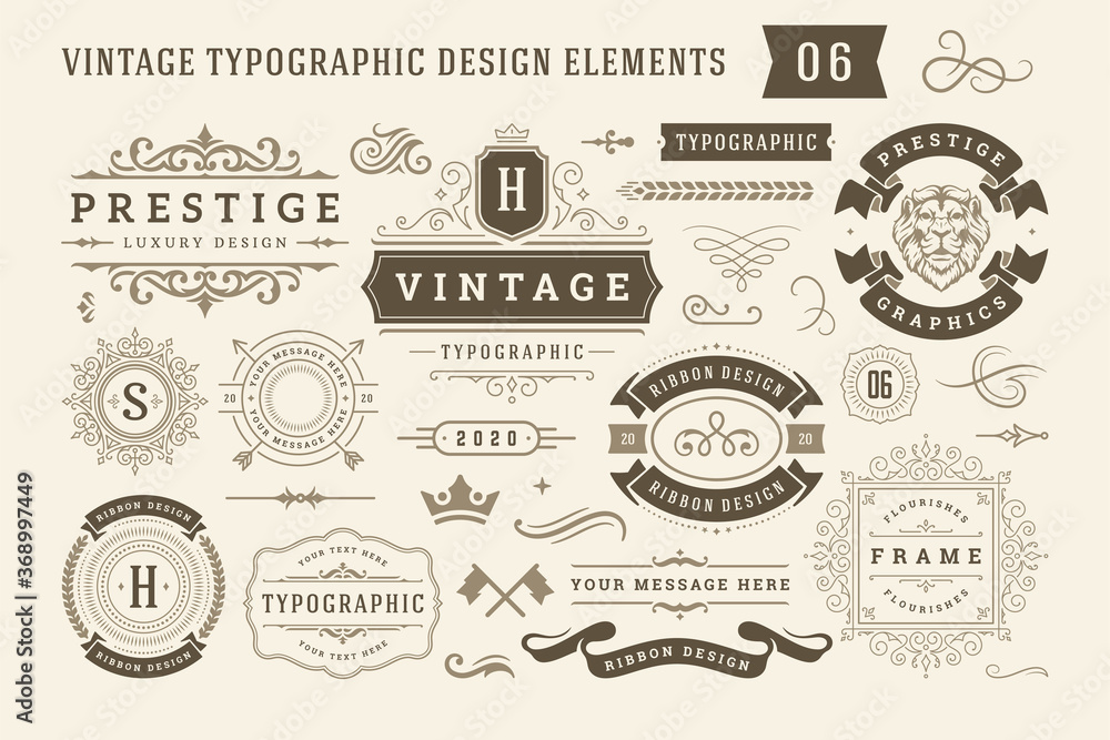Fototapeta Vintage typographic design elements set vector illustration.