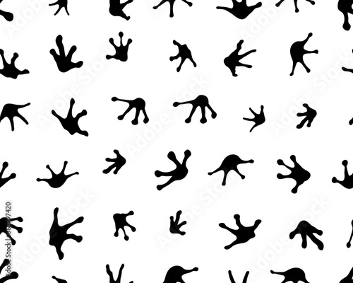 Canvas-taulu Seamless pattern with footprints of frogs white background
