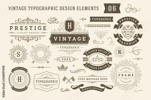 Fototapeta Vintage typographic design elements set vector illustration. obraz