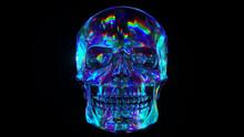Human Skull Reflective Background Environment. Colorful Iridescent Neon Spectrum. 3d Illustration