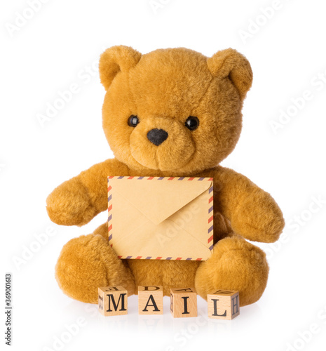 toy bear holding envelope mail concept isolated white background #369001613