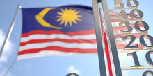 30 Degrees Centigrade On A Thermometer Measuring Air Temperature Near Flag Of Malaysia. Hot Weather Forecast Related 3D Rendering