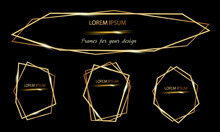 Collection Of Vector Golden Frames For Your Design With Transparent Light Effects. Abstract Elements Isolated On Background