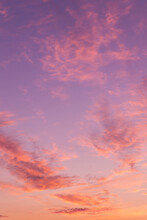 Dramatic Soft Sunrise, Sunset Pink Violet Orange Sky With Clouds Background Texture