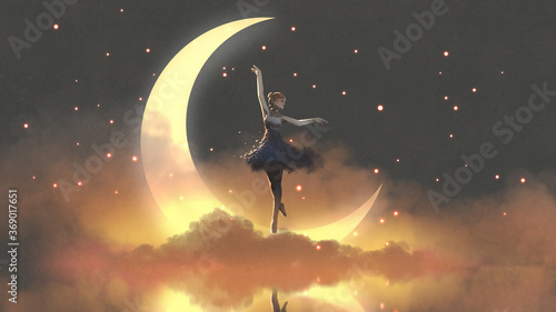 a ballerina dancing with fireflies against the crescent moon, digital art style, illustration painting - 369017651