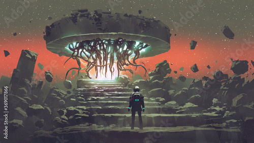 astronaut looking at the alien tentacles coming out of the portal, digital art style, illustration painting