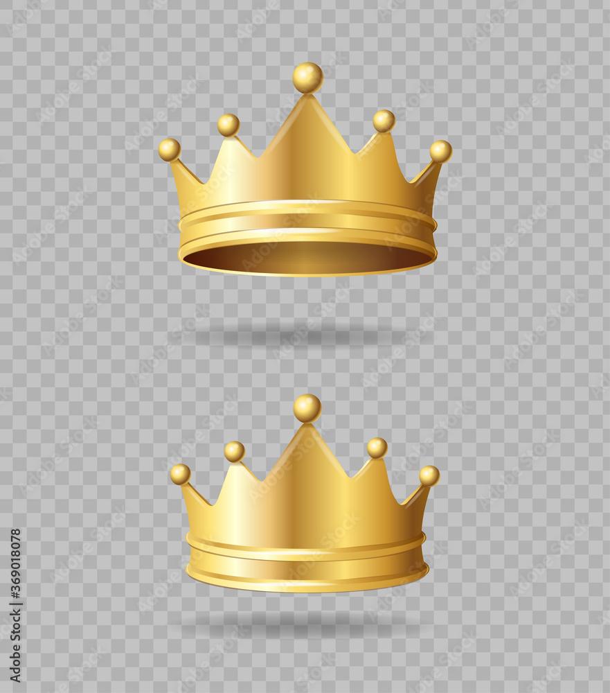 Fototapeta Realistic Detailed 3d Golden Crown Set. Vector