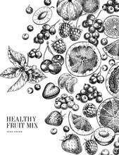 Hand Drawn Exotic Citrus Fruit...