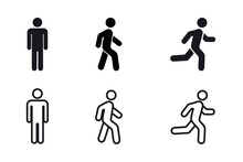Man Stands, Walk And Run Icon Set. People Symbol. Person Standing, Walking And Running Illustration. Run, Walk, Stand