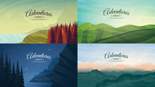 Vector Backgrounds. Minimalist Style. Flat Concept. 4 Landscapes Collection. Countryside, Meadow With Trees, Forest, Hills And Mountains. Panoramic Wallpapers Collection With Calligraphic Text.