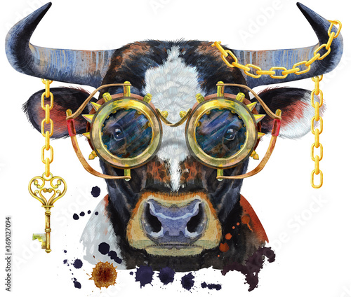 Watercolor illustration of black bull with white spot with steampunk glasses