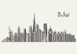 Dubai detailed skyline. Dubai in sketch style. Famous Dubai monuments. Vector illustration