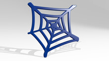 Spider Web Made By 3D Illustration Of A Shiny Metallic Sculpture With The Shadow On Light Background. Black And Halloween
