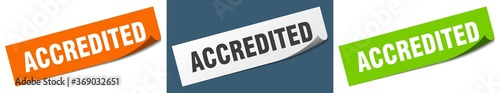 Photo accredited paper peeler sign set. accredited sticker
