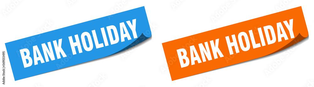 Fototapeta bank holiday paper peeler sign set. bank holiday sticker