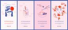 Collection Of Japanese Illustrations For Stories Templates, Mobile App, Landing Page, Web Design In Hand Drawn Style. Wabi Sabi Concept. Editable Vector Illustration