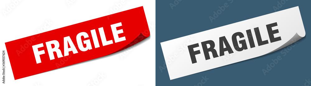 Fototapeta fragile paper peeler sign set. fragile sticker