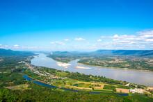 Beautiful Landscape Of View Point Mekong River Thai-Laos Border At Wat Pha Tak Suea In Nong Khai Province,Thailand