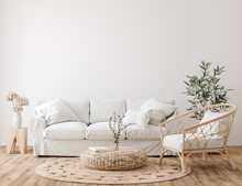 Farmhouse Living Room Interior Background, Wall Mockup, 3d Render