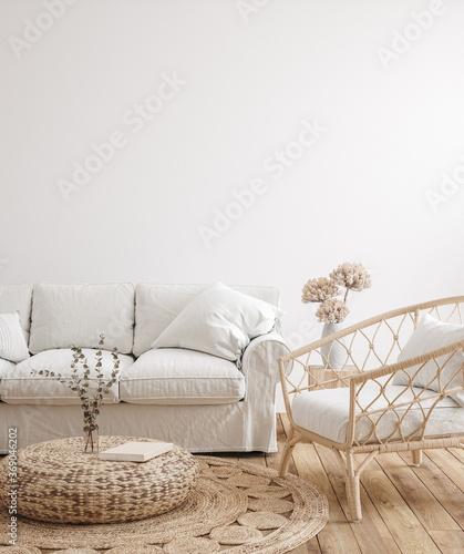 Obraz Farmhouse living room interior background,wall mockup, 3d render - fototapety do salonu
