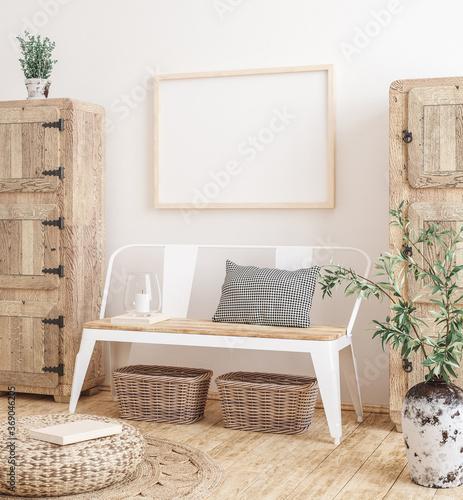 Obraz Mockup frame in farmhouse living room interior, 3d render - fototapety do salonu