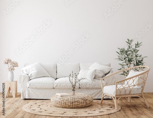 Obraz Farmhouse living room interior background, wall mockup, 3d render - fototapety do salonu