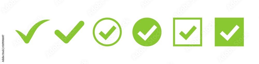 Fototapeta check mark vector icon. green box set. ok choose illustration on white background. correct vote choise isolated symbol.