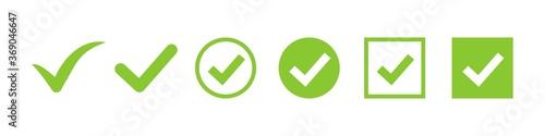 Obraz check mark vector icon. green box set. ok choose illustration on white background. correct vote choise isolated symbol. - fototapety do salonu