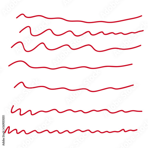 Set of hand drawn red lines Canvas Print