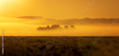 Orange misty landscape at sunrise