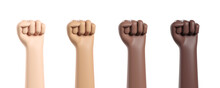 Multinational Hands Fist Raised Up Isolated Over White Background. Revolution And Protest Concept.