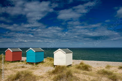 Photo beach huts at Findhorn on the Moray coast, Scotland.
