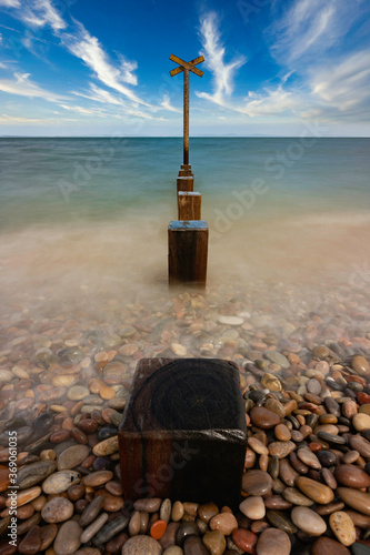 Photo long exposure of Findhorn beach on the Moray coast, Scotland.