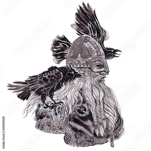Portrait of Scandinavian god Odin in viking helmet with two ravens Wallpaper Mural
