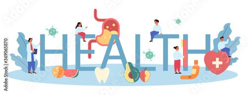 Health class typographic header. Idea of medicine