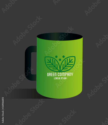 corporate identity brand mockup, mug green mockup, green company sign