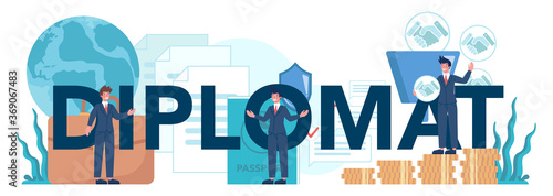 Diplomat typographic header. Idea of international relations Canvas Print