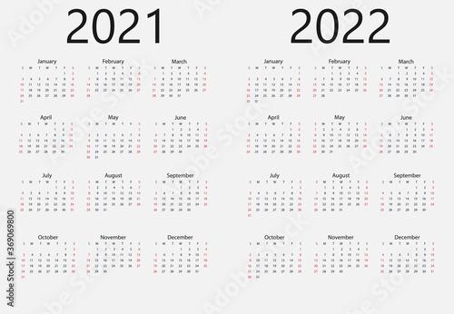Fototapeta 2021, 2022 calendar, week starts Sunday. Vector illustration, flat design. obraz na płótnie