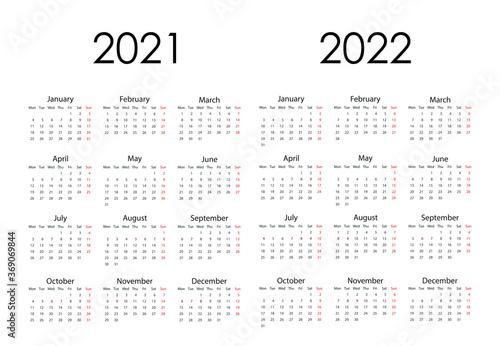 Fototapeta 2021, 2022 calendar, week starts Monday. Vector illustration, flat design. obraz na płótnie