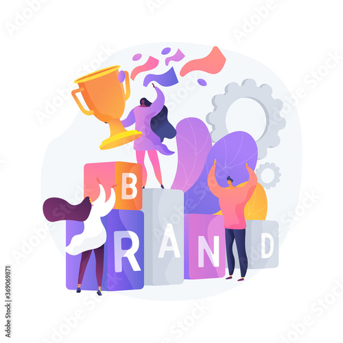 Obraz Branded competition abstract concept vector illustration. Marketing competitive event, company-sponsored contest, brand identity, rebranding media campaign, digital advertising abstract metaphor. - fototapety do salonu
