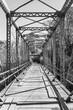 railway bridge in black and white