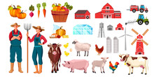 Organic Farm Set With Man, Woman, Cow, Rooster, Vegetables, Pig, Sheep, Tractor, Buildings. Village Illustration Set In Cartoon Flat Style With Animals, Barn, Water Tower, Farmer, Mill, Food, Products
