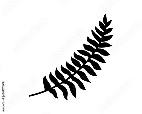 Fotografie, Obraz Doodle fern icon isolated on white