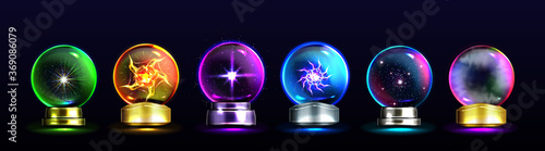 Magic crystal balls for fortune telling and future prediction, glowing glass orb Canvas-taulu