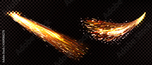 Weld sparks isolated on transparent background Fotobehang